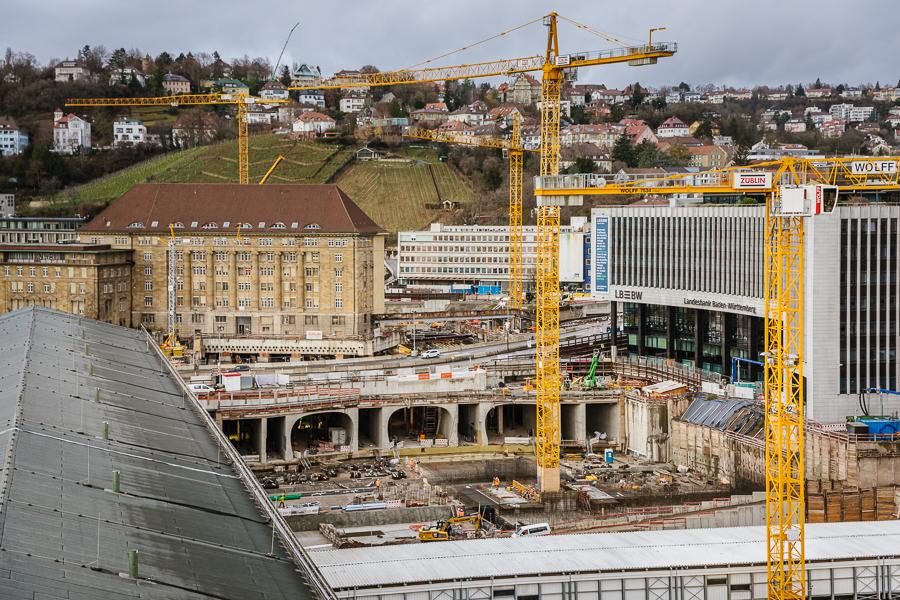 Stuttgart Bonatzbau Blick über Baustelle